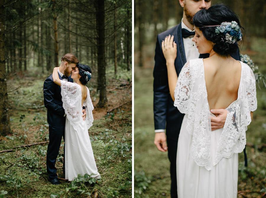 kāzu fotosesija mežs
